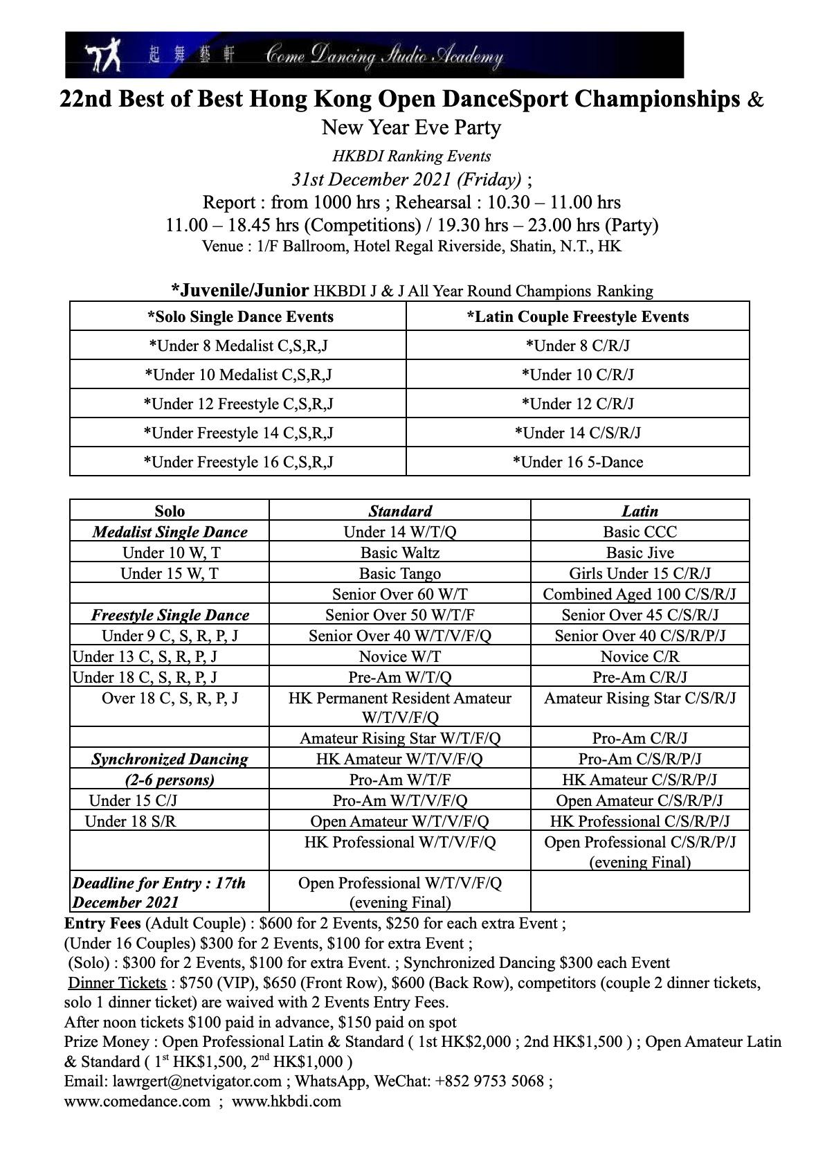 22nd Best of Best Hong Kong Open DanceSport Championships & New Year Eve Party
